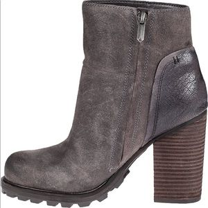 Sam Edelman Gray Suede Franklin Heeled Ankle Boot